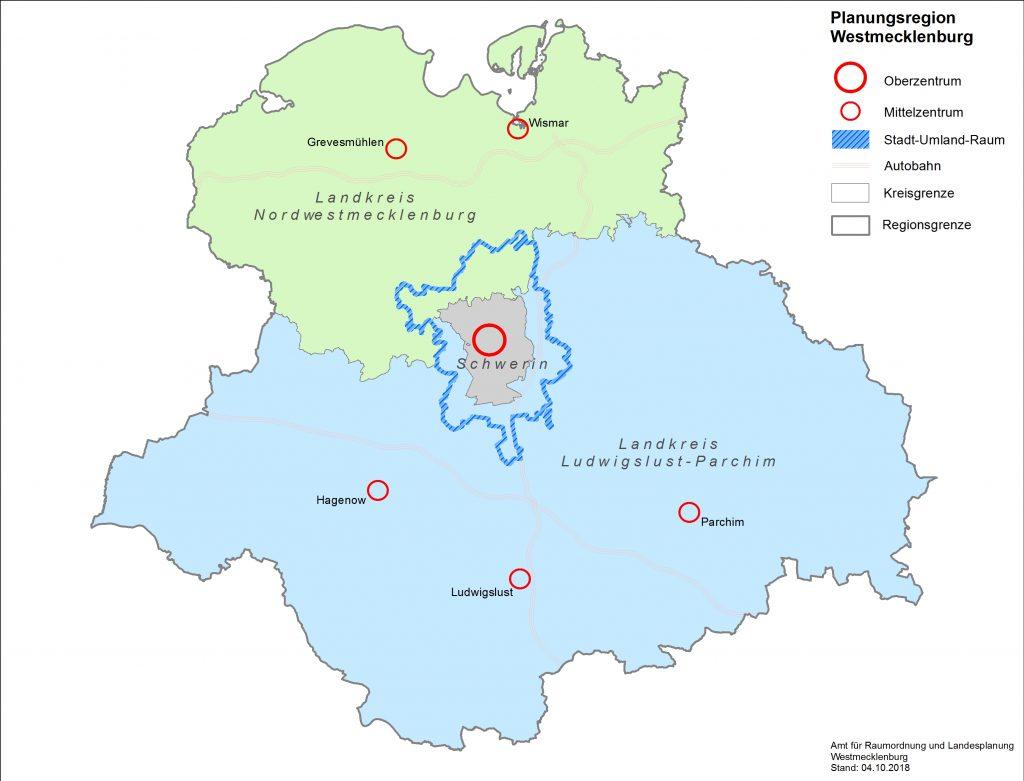 Karte mit Landkreisen Schwerin